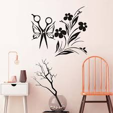 online get cheap flowers wall stickers for hair aliexpress com wall vinyl sticker decals decor removable haircut butterfly scissors and flowers comb hair salon barbershop spa