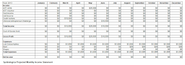 free monthly income statement and financial projection template