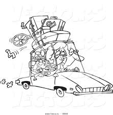 vector of a cartoon exhausted family homeward bound from a road