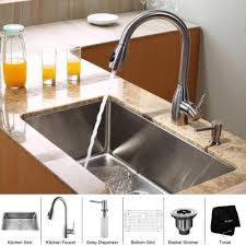 undermount kitchen sink with faucet holes kraus all in one undermount 30x18x10 0 single bowl kitchen