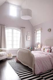 Pink And Grey Girls Bedroom White Round Girls Room Nightstand Design Ideas