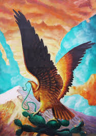 mexican tenochtitlan golden eagle eat snake oil painting on canvas