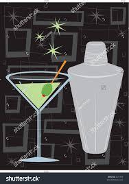 retro style martini shaker over groovy stock vector 3271355