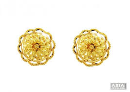 gold earrings in shape floral shaped gold tops 22k ajer57146 22k gold