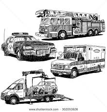 fire truck police car ambulance tow stock vector 643850932