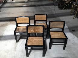 Esszimmerst Le Aus Rattan Italienische Stühle Von Acerbis 1970er 4er Set Bei Pamono Kaufen