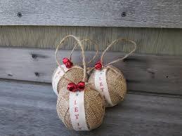 rustic burlap ornaments jingle bells let it snow in