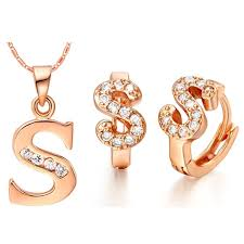 earrings s and fashion gold white gold letter s shiny cubic