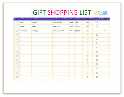 gift shopping list gift shopping list template to help you in shopping tasks list