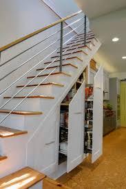 interior design under stair storage with cork flooring and
