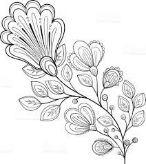Beautiful Decoration Element Vector Beautiful Decorative Contour Flower Stock Vector Art