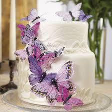 Butterfly Wedding Cake Set In Purple 24 Pieces Weddingstar Ebay