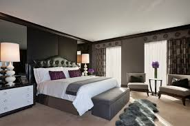 Bedroom Ideas Traditional - charcoal grey wall color with beige carpet for traditional master