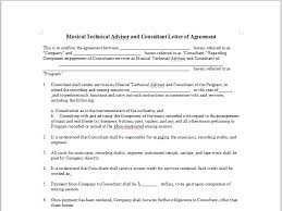 musical technical advisor and consultant letter of agreement