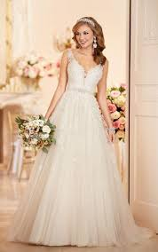 wedding dreses a line wedding dress with plunging neckline stella york