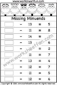 subtraction u2013 missing subtrahends u2013 one worksheet subtraction