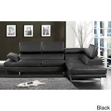 black sectional sofa bed contemporary 2 piece sectional with adjustable headrest