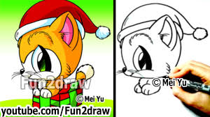 how to draw christmas cartoons how to draw a santa kitty cat