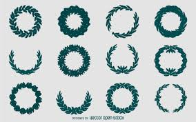 christmas wreath silhouette set vector download