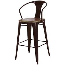 Industrial Metal Bar Stool Rustic Industrial Metal Bar Stool With Back And Arms Plus Hardwood