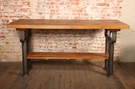 wood top work table plank top work table vintage industrial wood top and cast iron