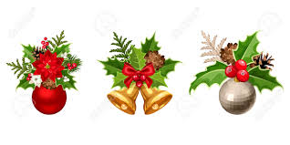 set of three vector christmas decorations with balls poinsettia