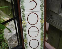 glass door number signs tile house numbers etsy