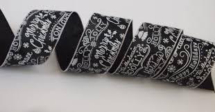 black and white wired ribbon 5 yards black white christmas 2 1 2 wired ribbon christmas script