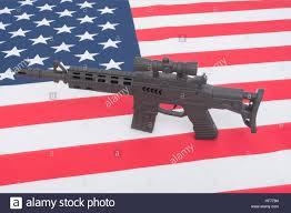 Flag Law Black Toy Assault Rifle Set Against Us American Flag Stars