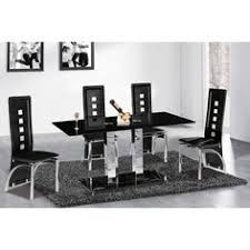 Black Glass Dining Table And 4 Chairs Harley Black And Clear Glass Dining Table And 4 Black Chairs 4