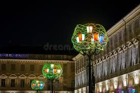 san carlos christmas lights christmas lights in piazza san carlo turin italy editorial photo