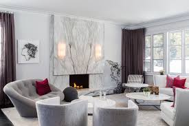 lounge living room with custom contemporary bookmatched marble