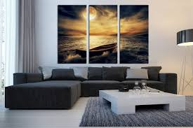 Wall Art Paintings For Living Room 3 Piece Canvas Wall Art Boat Huge Pictures Ocean Multi Panel