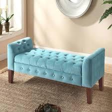 Settee Bench Cushion Blue Velvet Tufted Bench Homepop Velvet Tufted Storage Bench