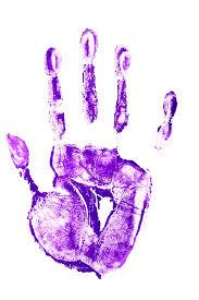 purple paint handprint in purple paint photo free download