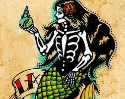 day of the dead mermaid dia de los muertos art print 5 x 7 8