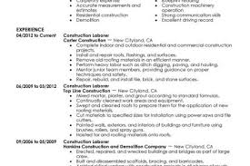 Construction Sample Resume by Basic Resume For Construction Worker Reentrycorps