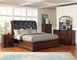Leather Tufted Headboard Dark Brown Wooden Bed With Black Leather Tufted Headboard Next To