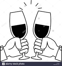 cartoon white wine toasting black and white stock photos u0026 images alamy