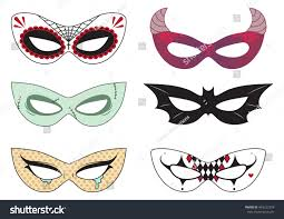 cut out paper halloween masks dead stock vector 483232378
