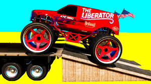 monster truck videos you tube learn color monster truck w spiderman cars cartoon for kids
