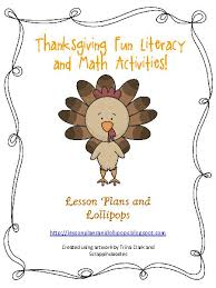 thanksgiving literacy and math activities teacherlingo