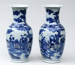blue vases and ornaments white with flowers glass ebay 27075