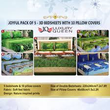 Best Fabric For Bed Sheets Buy Joyful Pack Of 5 3d Bedsheets With 10 Pillow Covers 5bs12