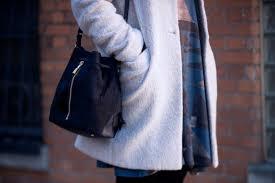 grey boyfriend coat navy bucket bag klassy kinks