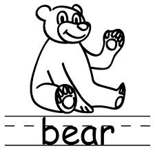 b for bear coloring pages