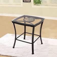 Glass And Metal Sofa Table Amazon Com Adeco Glass U0026 Black Metal End Side Table Metal Frame