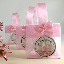 bridal party gift bags mini sheer organza tote girly chic pink wedding bridal