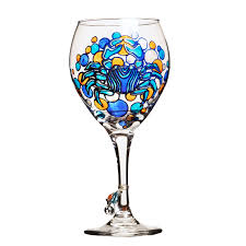blue crab wine glass painted custom wine glasses design