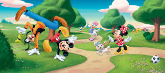 wall mural wallpaper disney mickey mouse goofy minnie daisy at the wall mural wallpaper disney mickey mouse goofy minnie daisy at the park photo 202 x 90 cm 2 21 yd x 35 43
